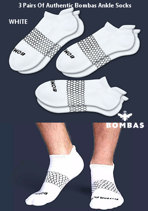 Premium Bombas Socks (3 Pack Deal - White)
