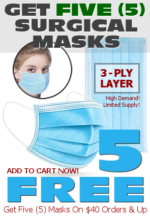 Five (5) Free Surgical 3-Ply Protective Breathing Masks