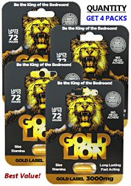 Gold Lion Erection Pills (4 Pills) - Gold Label 12,000mg Total (140911.868)