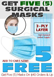 Five (5) Free Surgical 3-Ply Protective Breathing Masks (40005.1000)